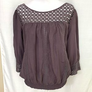 Solitaire Eggplant Elatic Waist Sleeve Lace Top M